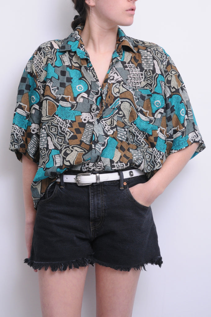 Abstract Silk Button Down