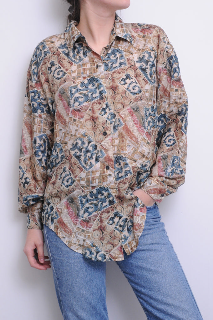 Beige Pattern Silk Blouse