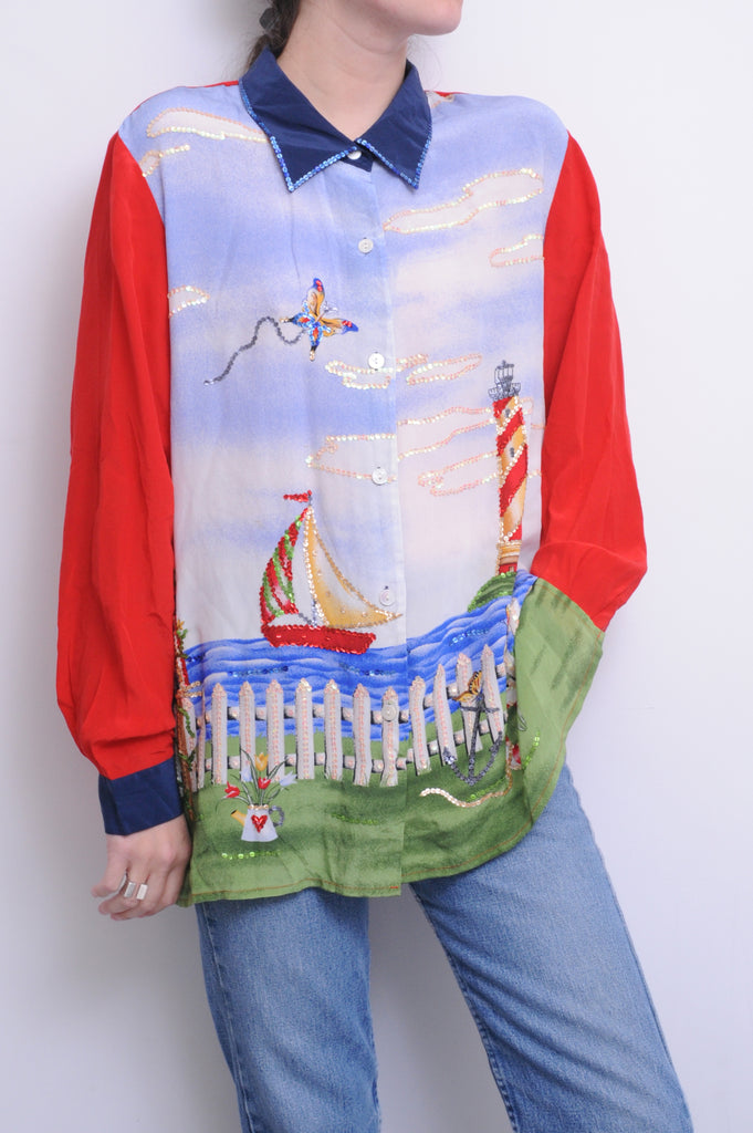 Sequin Accented Sailboat Silk Blouse