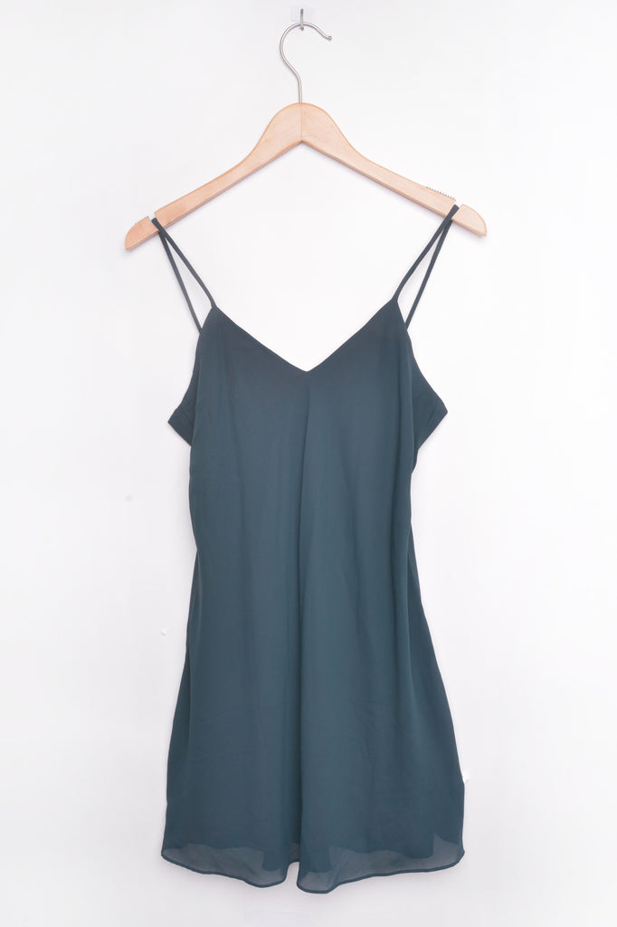 Silky Green Shift Dress