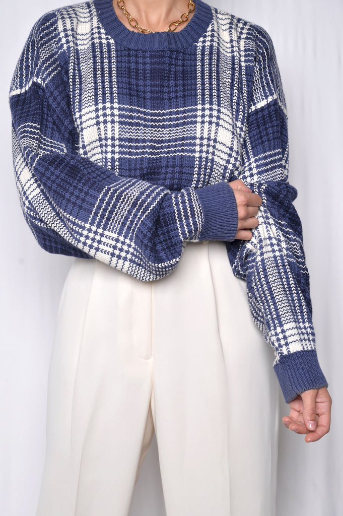 Plaid Cropped Sweater