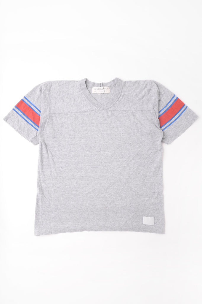 Gray Striped Sleeve Tee