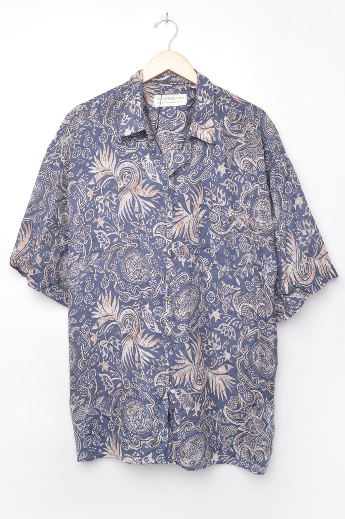 Short Sleeve Abstract Silk Button Down