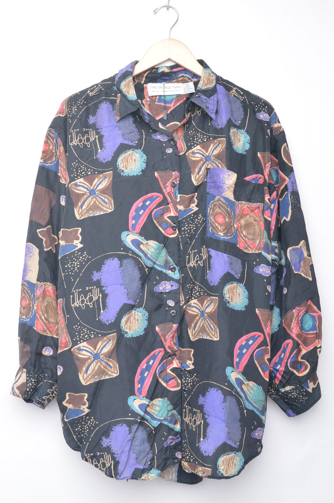 Abstract Planets Silk Blouse