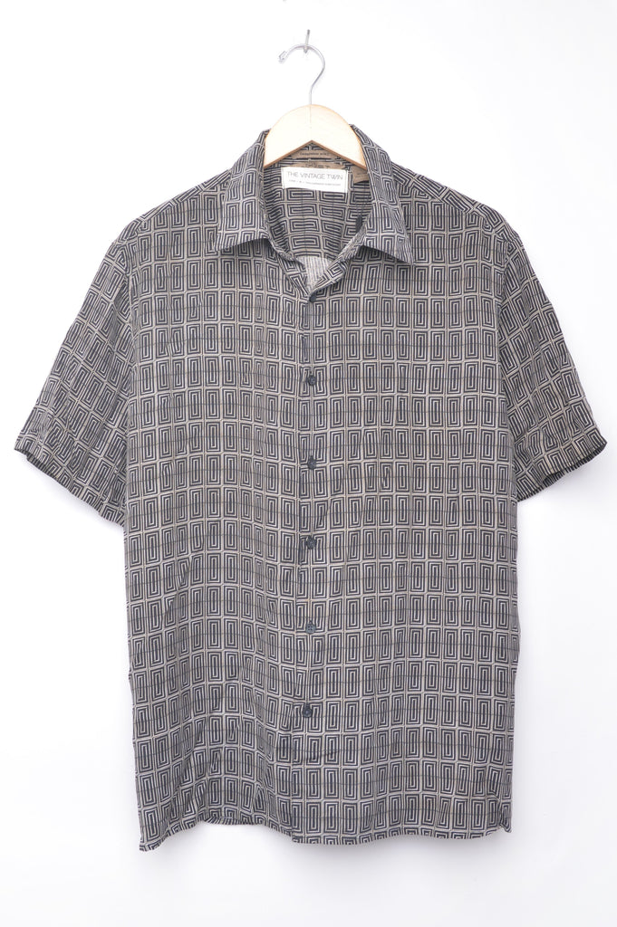 Short Sleeve Geometric Button Down