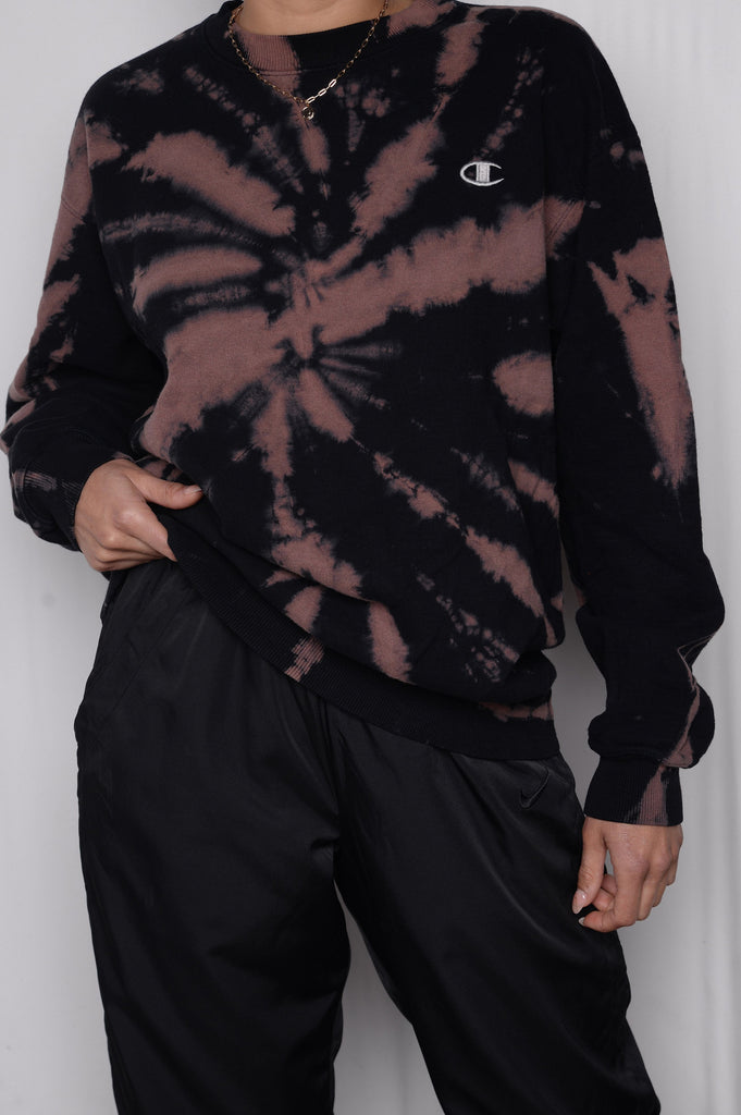 Black Tie Dye Champion Sweatshirt