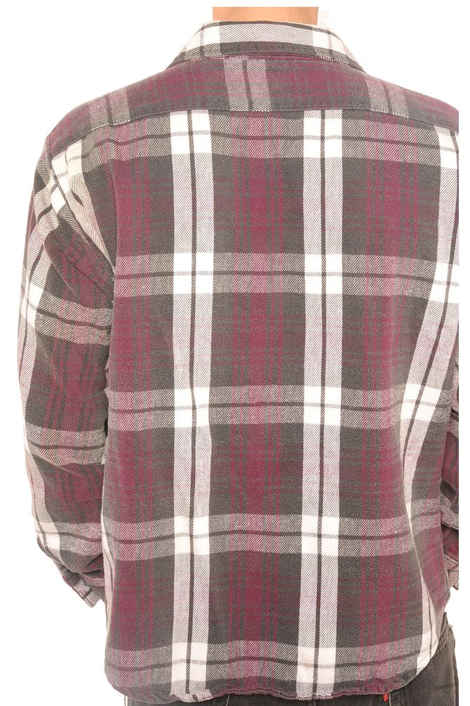 Purple and Gray Plaid Flannel Shirt