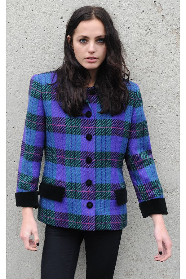 Purple Plaid Blazer