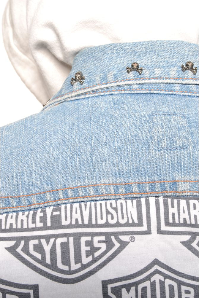 Reworked Harley Davidson Denim Vest