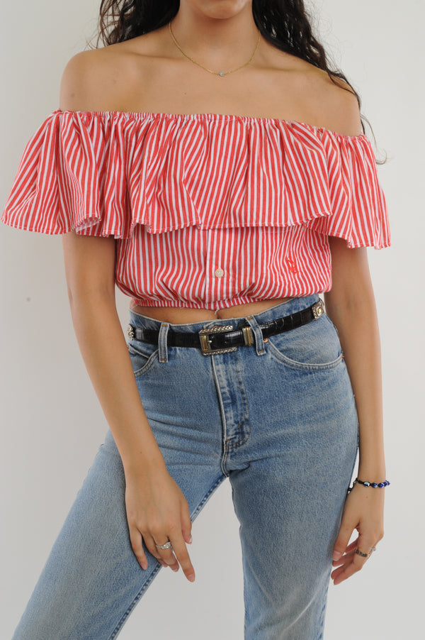Red Striped Off-The-Shoulder Cropped Top