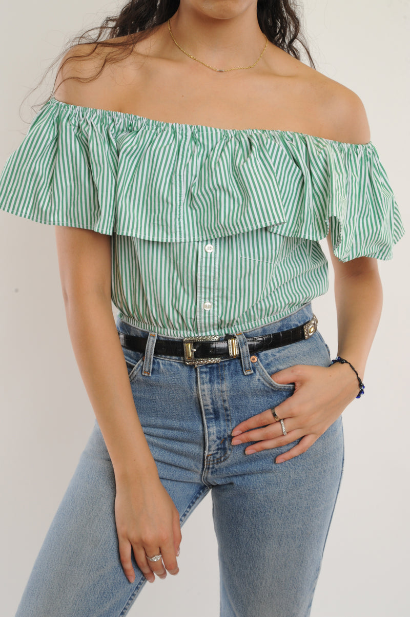 Green Striped Off-The-Shoulder Cropped Top