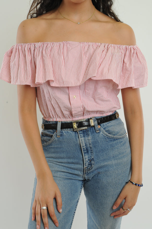 Pink Striped Off-The-Shoulder Cropped Top