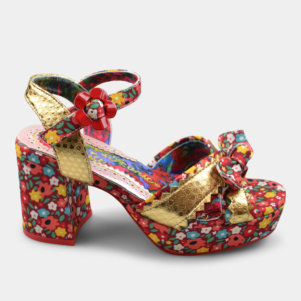 IRREGULAR CHOICE FLOWER PATTERN IN GOLD