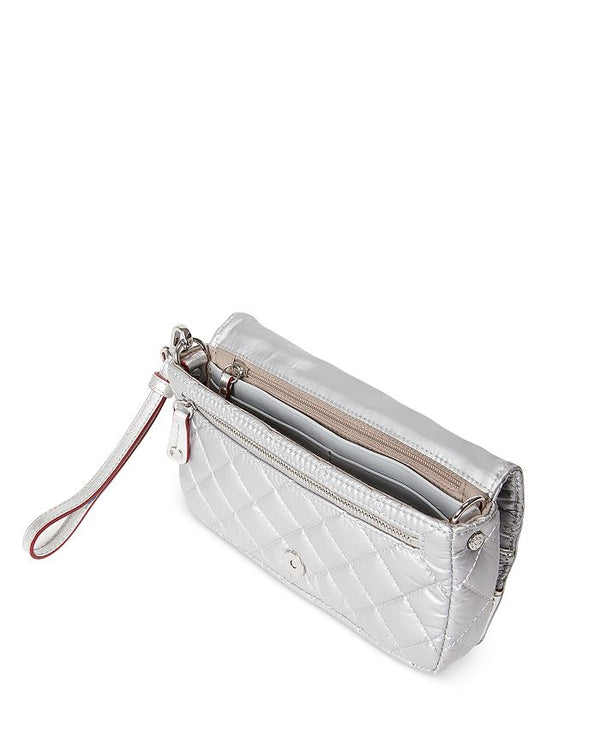 MZ WALLACE CROSBY METALLIC CONVERTIBLE WRISTLET IN TIN