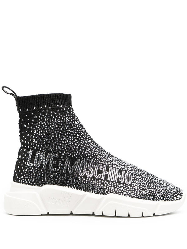 LOVE MOSCHINO CRYSTAL EMBELLISHED SLIP ON SNEAKERS