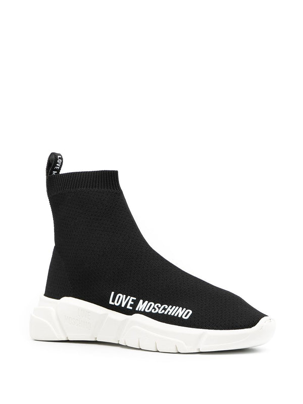 LOVE MOSCHINO LOGO PRINT SLIP ON SNEAKER IN BLACK