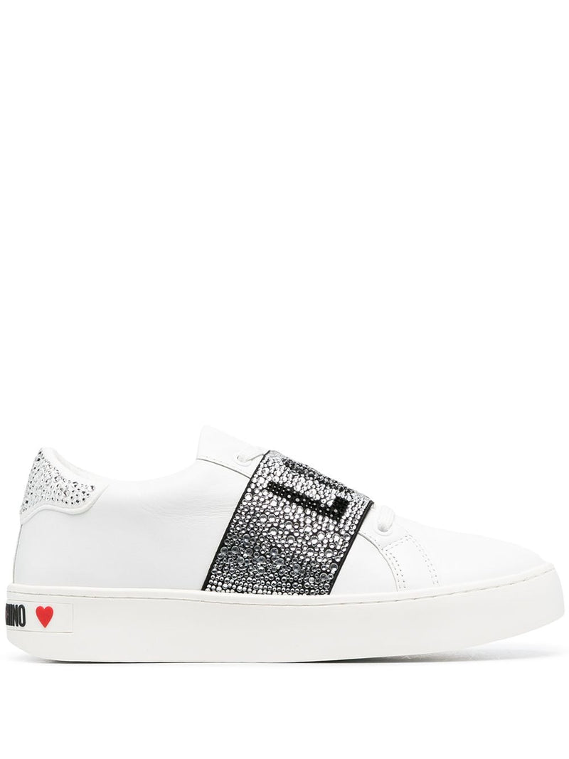 LOVE MOSCHINO WHITE CRYSTAL LOGO SNEAKER