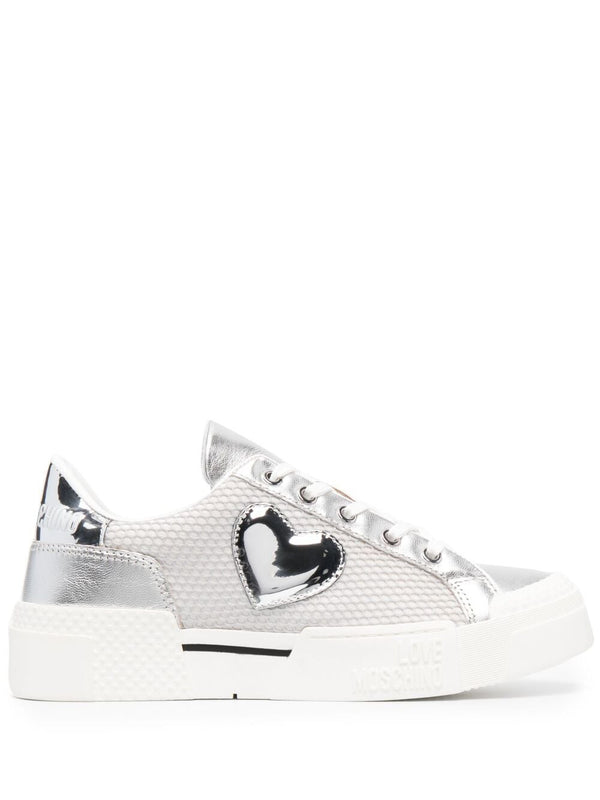 LOVE MOSCHINO SILVER SIDE HEART PATCH SNEAKER