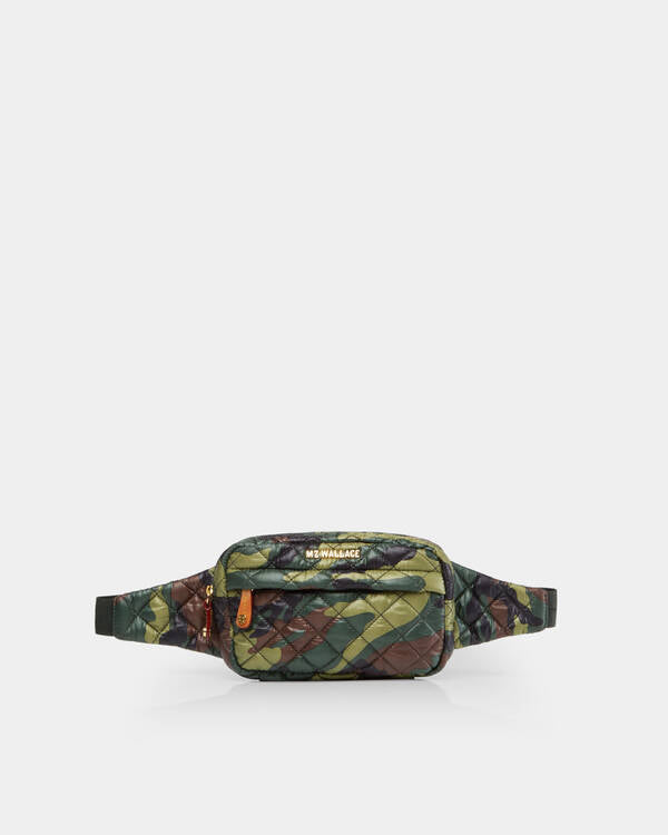 MZ WALLACE METRO BELT BAG IN GREEN CAMO