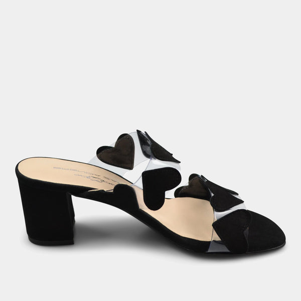 BRENDA ZARO T3589 HEARTS SLIDE IN BLACK