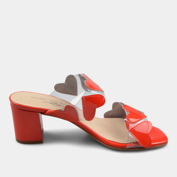 BRENDA ZARO T3589 HEARTS SLIDE IN RED