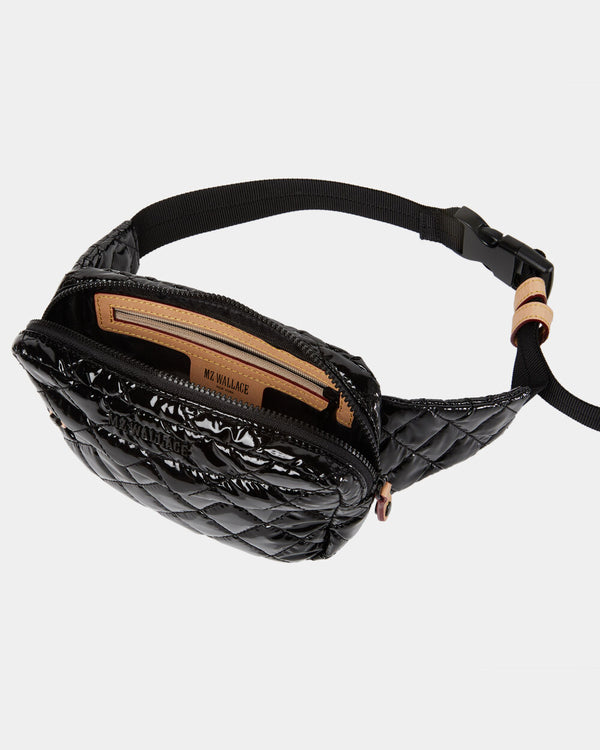 MZ WALLACE METRO BELT BAG IN BLACK LACQUER