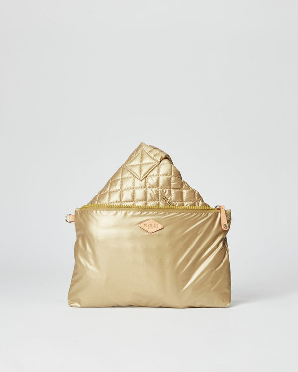 MZ WALLACE MEDIUM METRO TOTE IN GOLD
