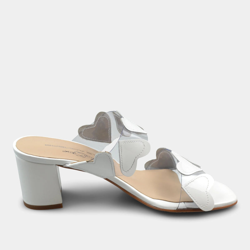 BRENDA ZARO T3589 HEARTS SLIDE IN WHITE