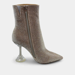 JEFFREY CAMPBELL ENTITY ANKLE HEEL BOOTIE IN SILVER