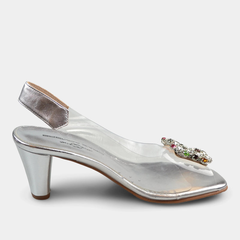 BRENDA ZARO CLEAR SANDALS IN SILVER
