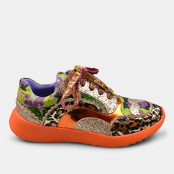 IRREGULAR CHOICE SNEAKERS IN ORANGE PATTERN