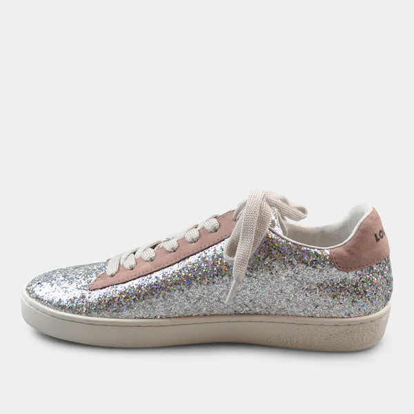 LOLA CRUZ SNEAKER NORMA IN SILVER WITH STAR DETAIL