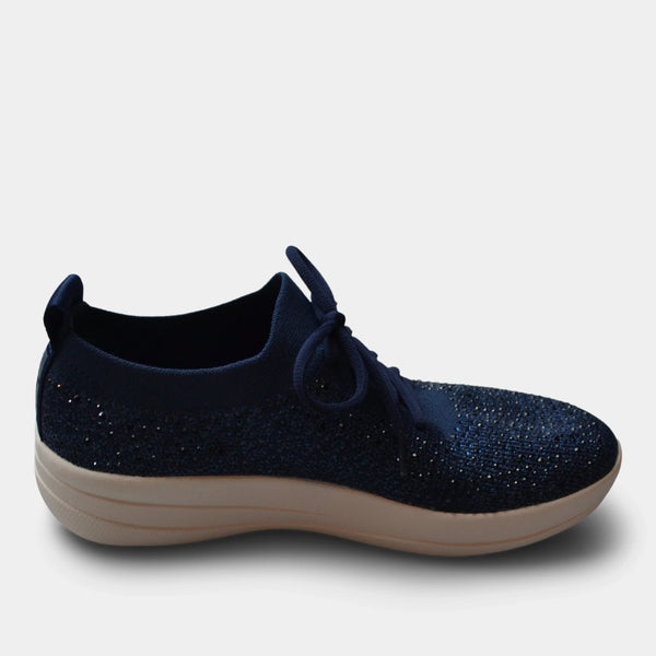 FITFLOP UBERKNIT CRYSTAL SLIP ON SNEAKER IN BLUE