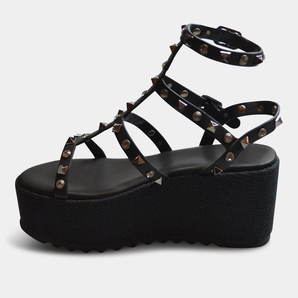 EXE MELANIE WEDGE SANDAL IN BLACK