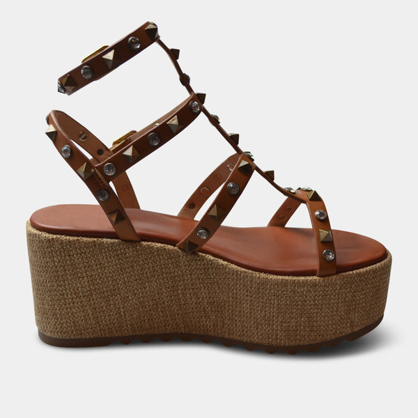 EXE' MELANIE WEDGE SANDAL IN TAN
