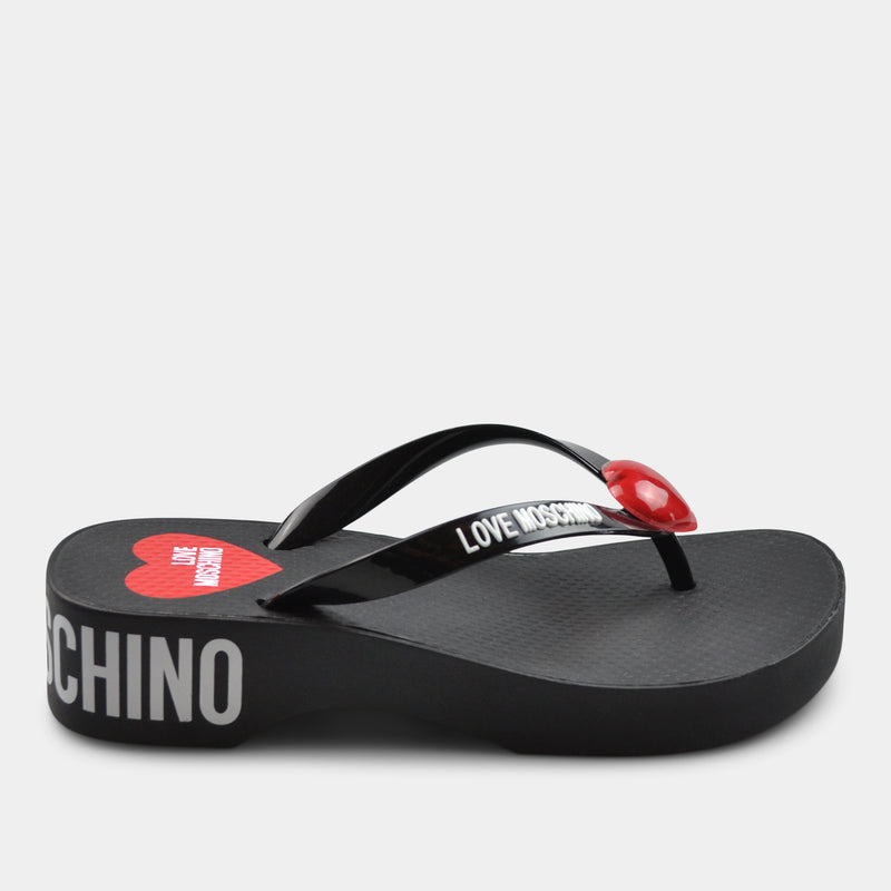 LOVE MOSCHINO LOW HEEL FLIP FLOPS IN BLACK