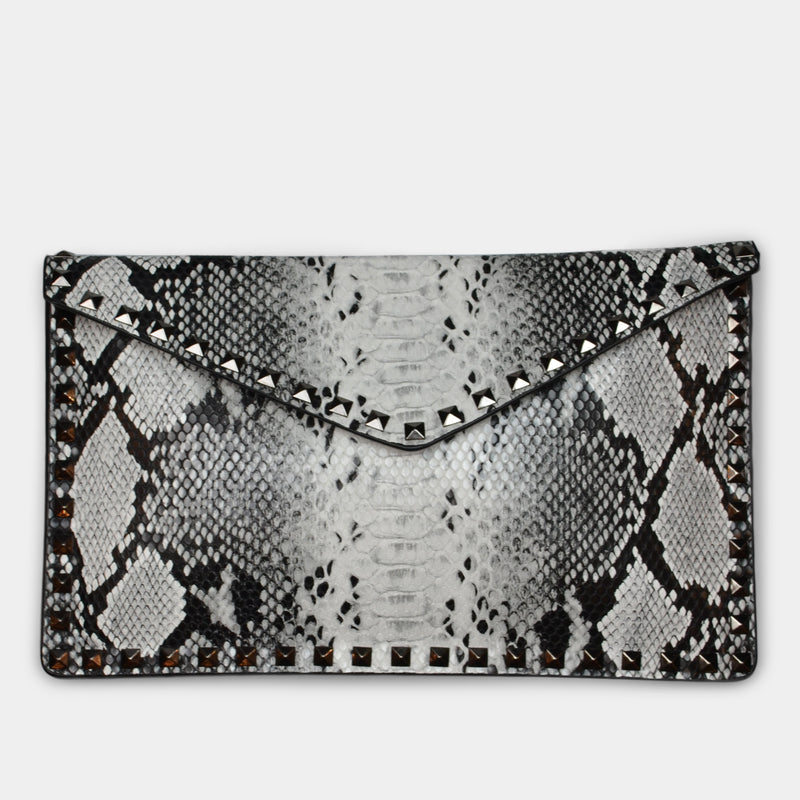 FASHION BY A STEP ABOVE SNAKE SKIN ENVELOPE WITH STUDS