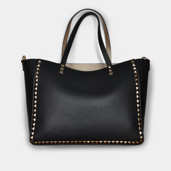 FASHION BY A STEP ABOVE BLACK TOTE WITH STUDS