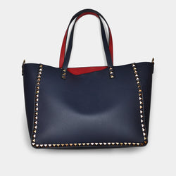 FASHION BY A STEP ABOVE BLUE TOTE WITH STUDS