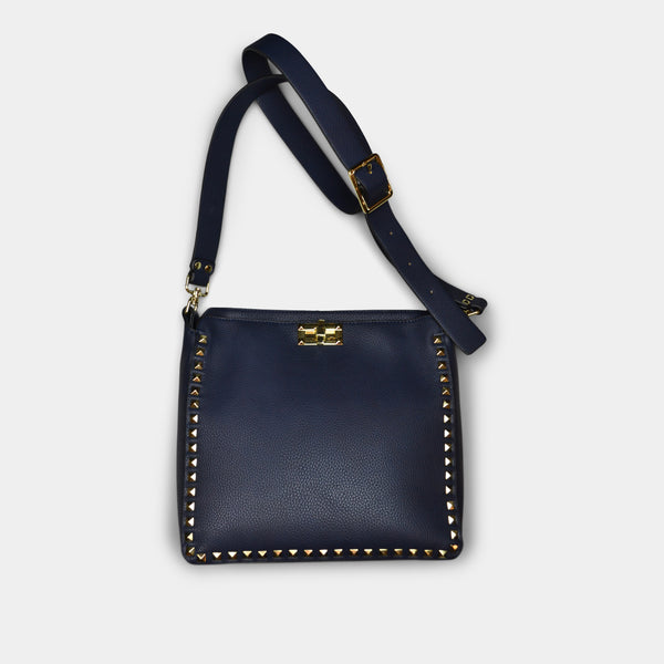 FASHION BY A STEP ABOVE BLUE SIDE BAG WITH STUDS