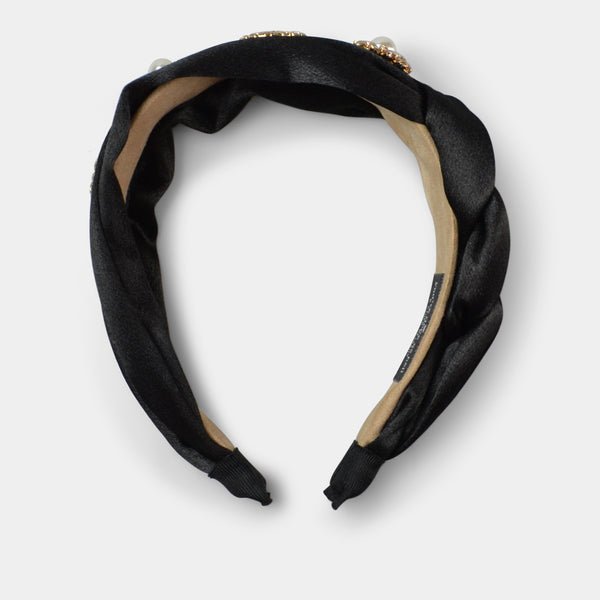 FASHION BY A STEP ABOVE HEADBAND IN BLACK WITH GOLD ACCENT