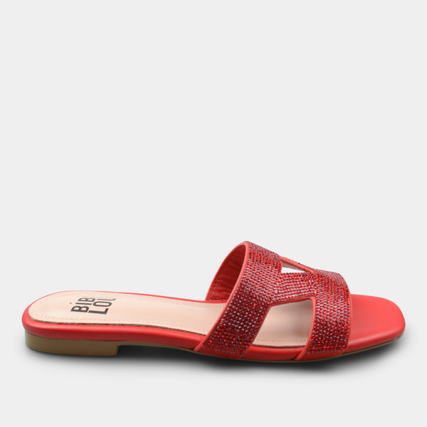 BIBI LOU SLIPPER SWART IN RED