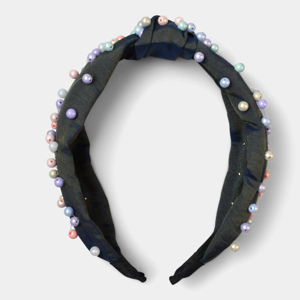 FASHION BY A STEP ABOVE HEADBAND WITH COLORFUL PEARLS