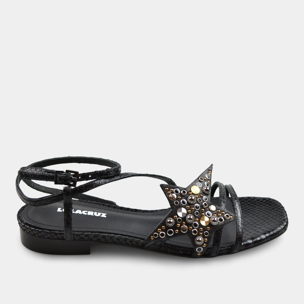 LOLA CRUZ FLAT SANDAL IN BLACK