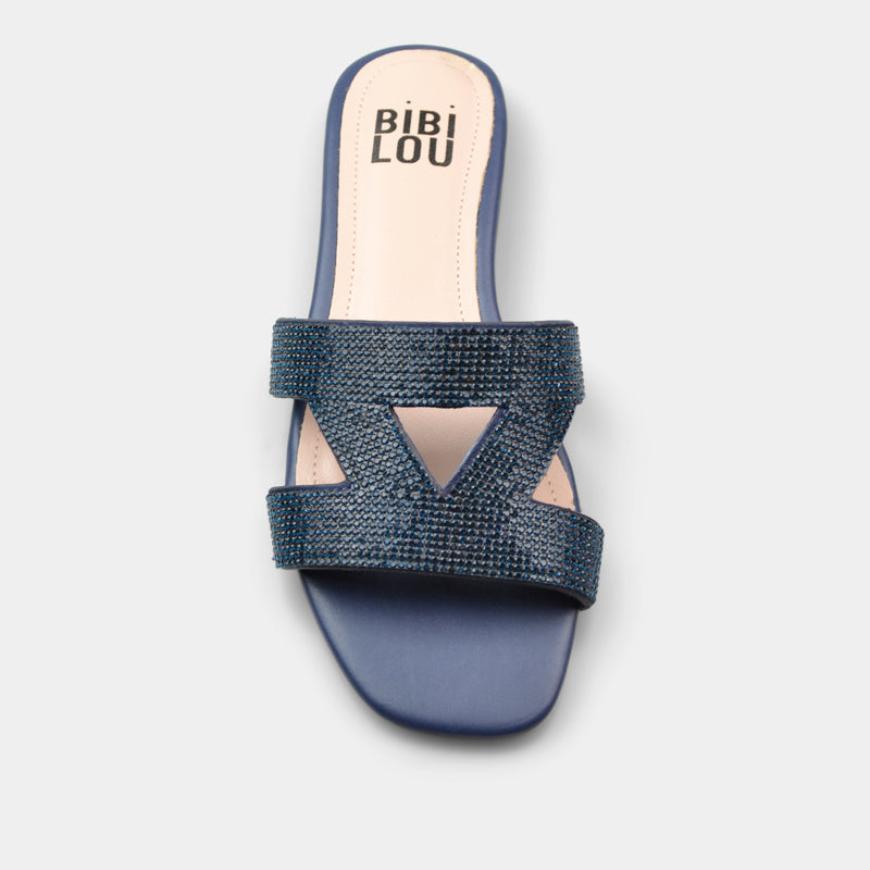 BIBI LOU SLIPPER SWART IN BLUE