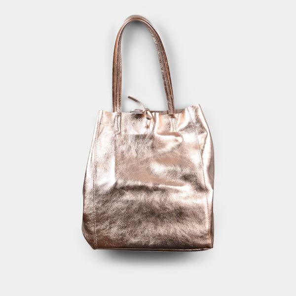 JIJOU CAPRI METALLIC MAXI LEATHER TOTE IN ROSE GOLD