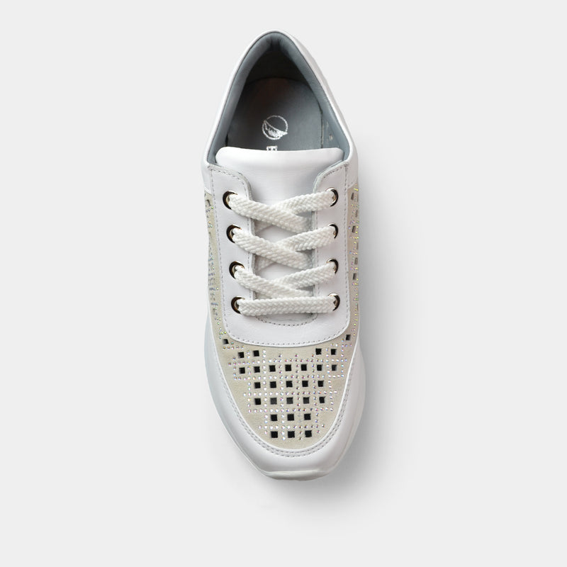 BONAVI WEDGE LACE UP SNEAKER IN WHITE