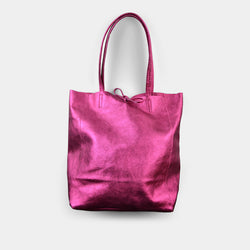 JIJOU CAPRI METALLIC MAXI LEATHER TOTE IN FUCHSIA