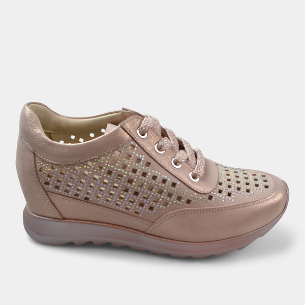 BONAVI WEDGE LACE UP SNEAKER IN PINK