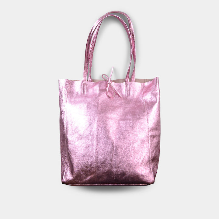 JIJOU CAPRI METALLIC MAXI LEATHER TOTE IN PINK